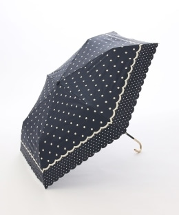スカラップドット柄晴雨兼用折りたたみ傘 日傘